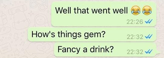 Text - Well that went well 22:26 How's things gem? 22:32 Fancy a drink? 22:32