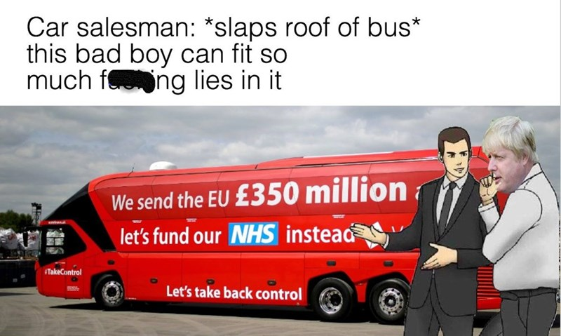brexit meme about how they are lying about the funding they need