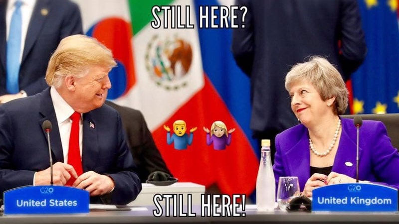 brexit meme about Trump and Theresa May still being in office