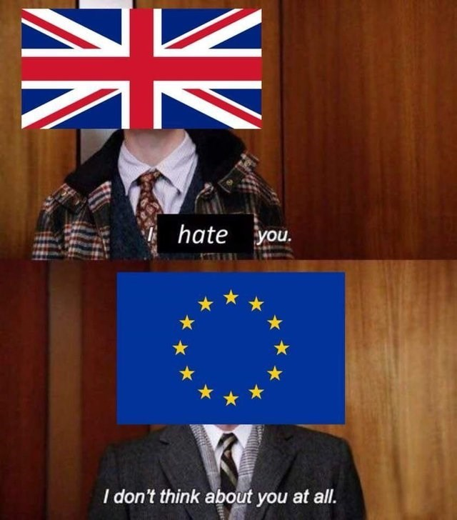 brexit meme about UK hating EU and EU not caring