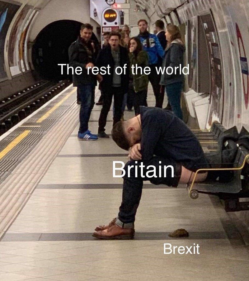 brexit meme about how they are idiots and the rest of the world is watching them