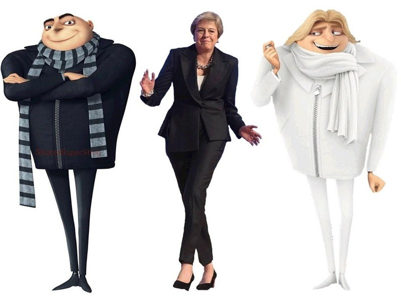 brexit meme and Theresa may next to despicable me characters
