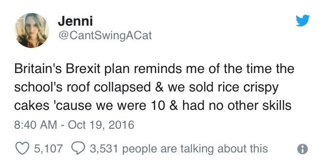brexit tweet comparing it to children selling food to make money due to not having other skills