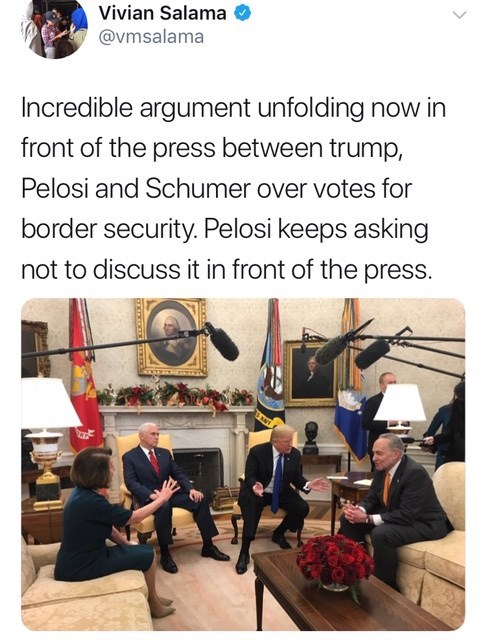 tweet post of trump arguing over border security while waving his hands in front of the press