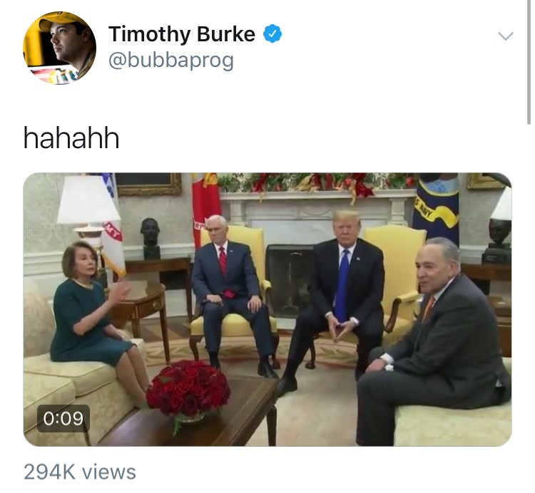 Donald Trump, Mike Pence, Pelosi and Schumer having a meeting in the white house