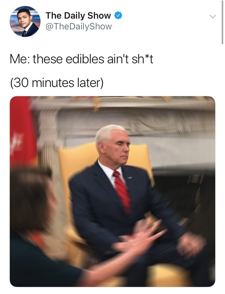 Mike Pence in a blurred image, with his eyes closed during a meeting with Trump