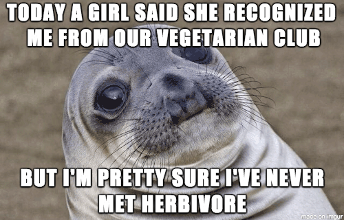 """Awkward Seal meme with text that reads, """"Today a girl said she recognized me from our vegetarian club, but I'm pretty sure I've never met herbivore"""""""