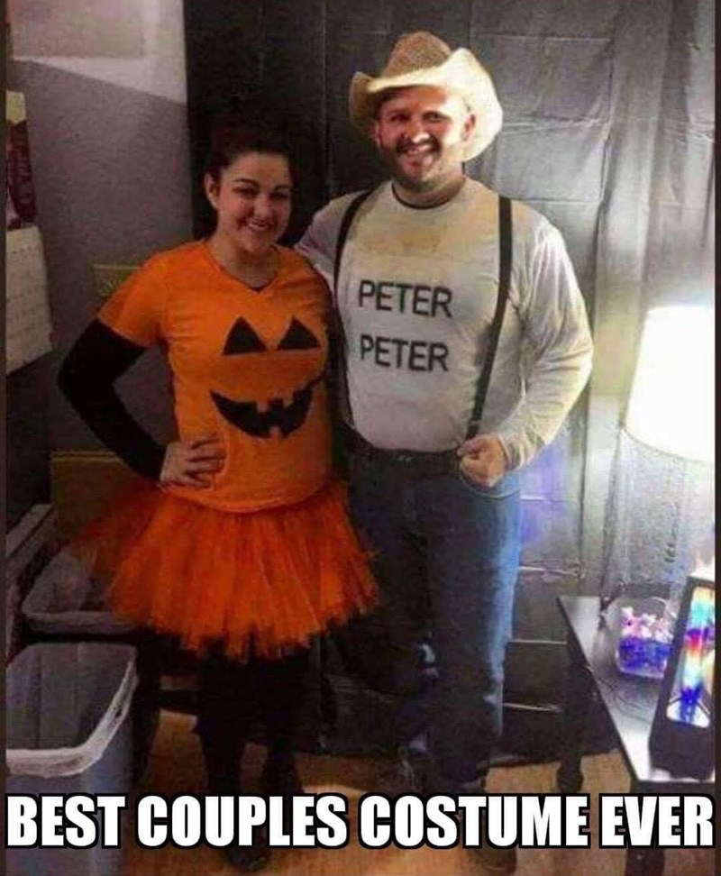 "couples costume, woman dressed as a pumpkin and the man as ""peter peter"""