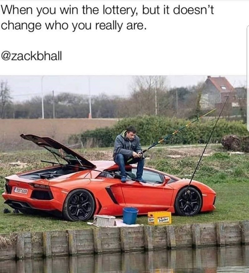 meme about fishing while sitting on a convertible car as a chair