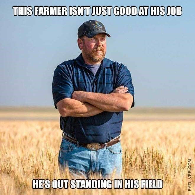 meme of a farmer standing in a field with his arms crossed over his chest