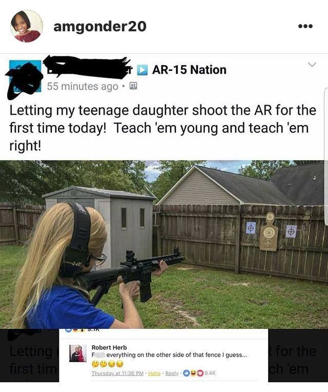 post of a girl learning how to shoot an AR in her backyard