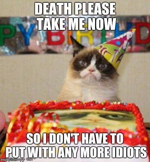 birthday meme of grumpy cat in front of a cake and wearing a party hat
