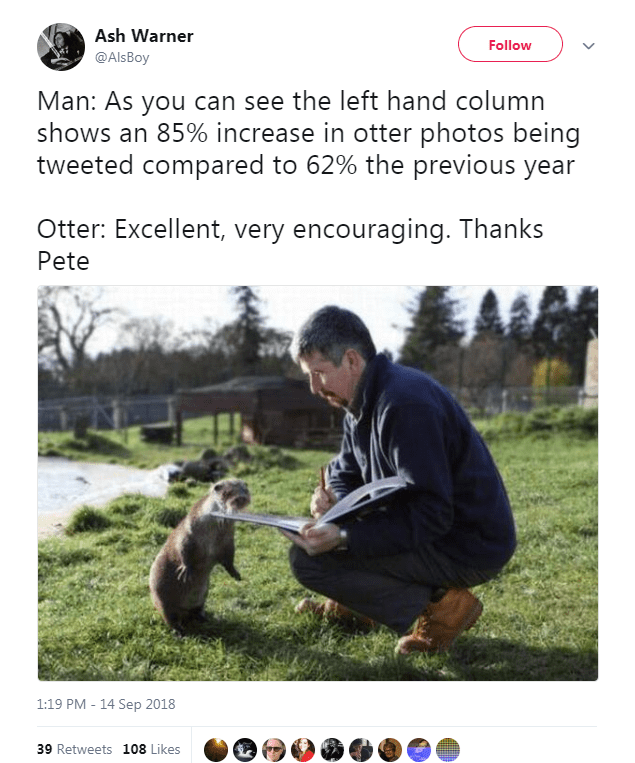 Adaptation - Ash Warner Follow @AlsBoy Man: As you can see the left hand column shows an 85% increase in otter photos being tweeted compared to 62% the previous year Otter: Excellent, very encouraging. Thanks Pete 1:19 PM - 14 Sep 2018 39 Retweets 108 Likes
