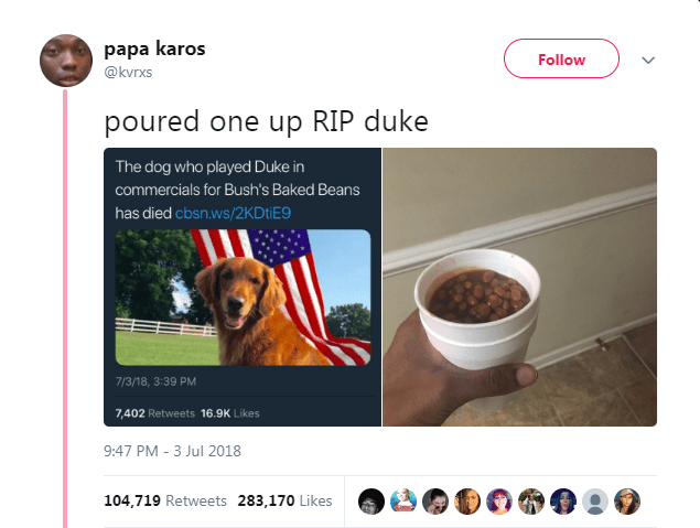 Product - papa karos Follow @kvrxs poured one up RIP duke The dog who played Duke in commercials for Bush's Baked Beans has died cbsn.ws/2KDtiE9 7/3/18, 3:39 PM 7,402 Retweets 16.9K Likes 9:47 PM -3 Jul 2018 104,719 Retweets 283,170 Likes
