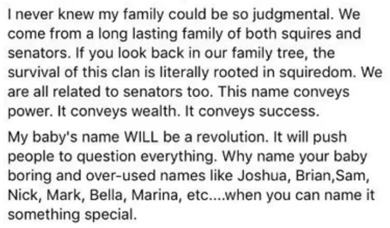 Text - I never knew my family could be so judgmental. We come from a long lasting family of both squires and senators. If you look back in our family tree, the survival of this clan is literally rooted in squiredom. We are all related to senators too. This name conveys power. It conveys wealth. It conveys success. My baby's name WILL be a revolution. It will push people to question everything. Why name your baby boring and over-used names like Joshua, Brian,Sam, Nick, Mark, Bella, Marina, etc...