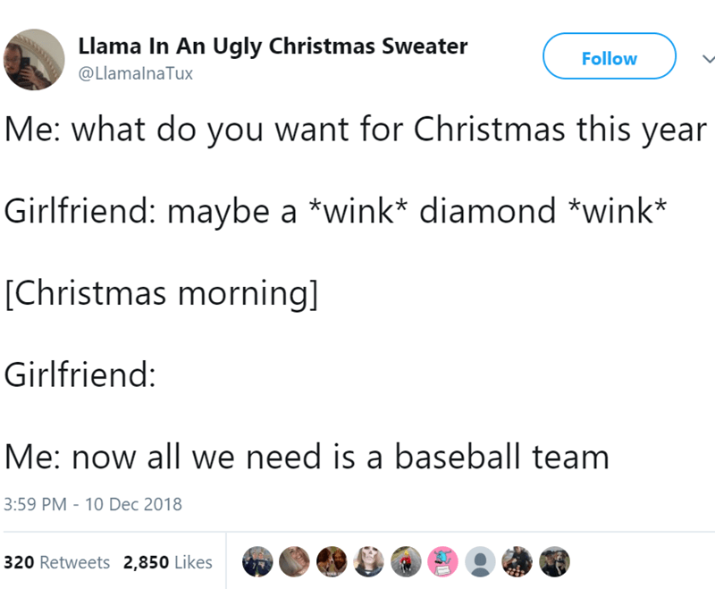 Text - Llama In An Ugly Christmas Sweater Follow @LlamalnaTux Me: what do you want for Christmas this year Girlfriend: maybe a *wink* diamond *wink* [Christmas morning] Girlfriend: Me: now all we need is a baseball team 3:59 PM 10 Dec 2018 320 Retweets 2,850 Likes