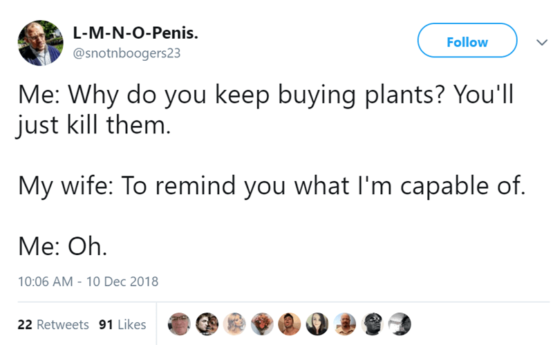 Text - L-M-N-O-Penis. Follow @snotnboogers23 Me: Why do you keep buying plants? You'll just kill them. My wife: To remind you what I'm capable of. Me: Oh 10:06 AM 10 Dec 2018 22 Retweets 91 Likes