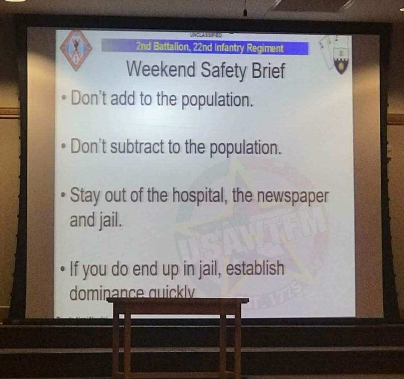 pic of weekend safety brief listing amusing rules for the weekend