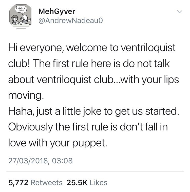 tweet about ventriloquist club referencing Fight Club