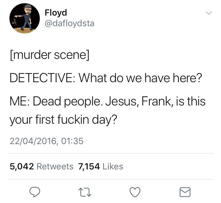 meme - Text - Floyd @dafloydsta [murder scene] DETECTIVE: What do we have here? ME: Dead people. Jesus, Frank, is this your first fuckin day? 22/04/2016, 01:35 5,042 Retweets 7,154 Likes
