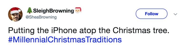 tweet about millennial version of Christmas tree decorating