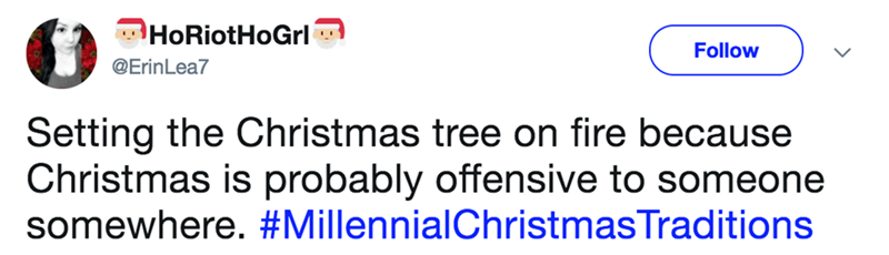 millennial version of Christmas, not having one because it may offend someone