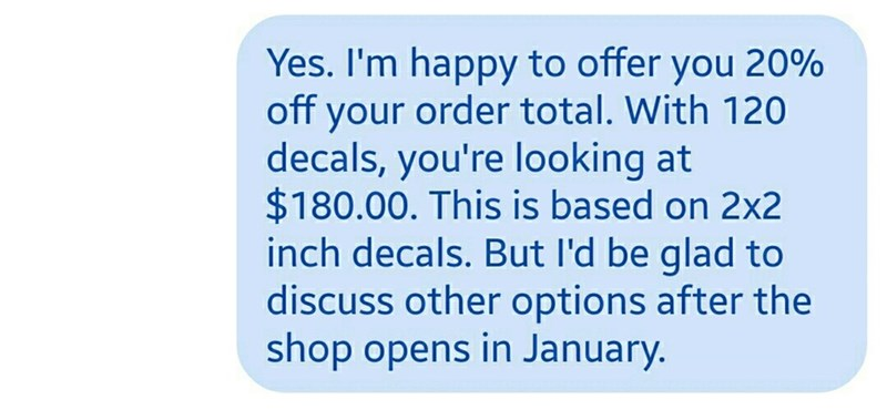 owner gives the customer details of the discount