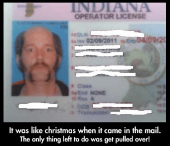 Chin - INDIANA OPERATOR LICENSE sDLN 02/09/2011 E04/09/20 Class End NONE Res A It was like christmas when it came in the mail. The only thing left to do was get pulled over!