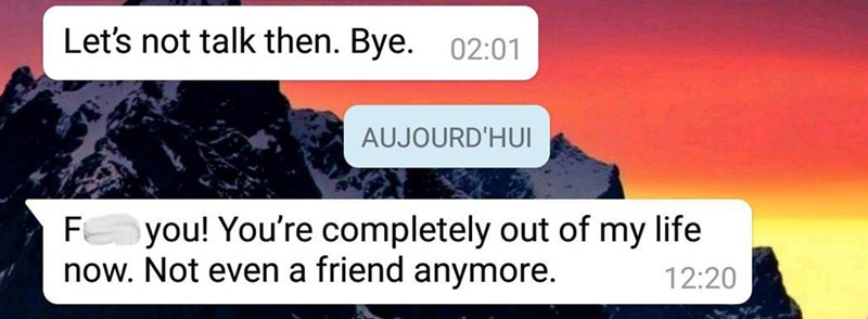 """Text conversation that reads, """"[person 1] Let's not talk then. Bye; [Person 2 doesn't reply] F*ck you! You're completely out of my life now. Not even a friend anymore"""""""