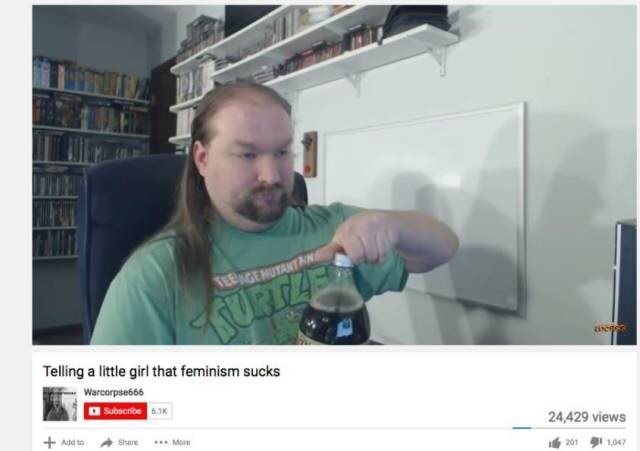 YouTube video screenshot of overweight guy with long greasy hair talking about feminism