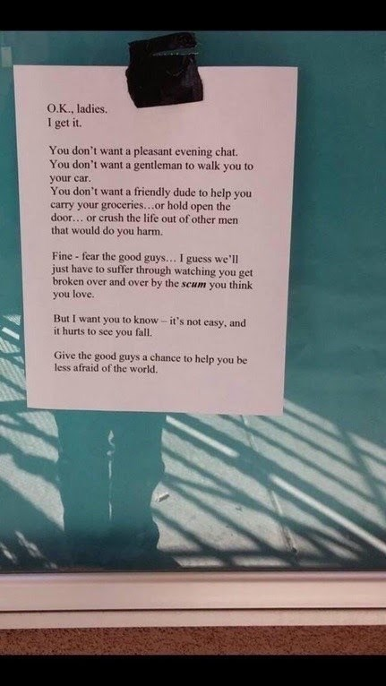 note by nice guys directed to the ladies that turned them down