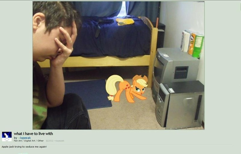 picture of guy facepalming while he's being seduced by a cartoon MLP character photoshopped in the background