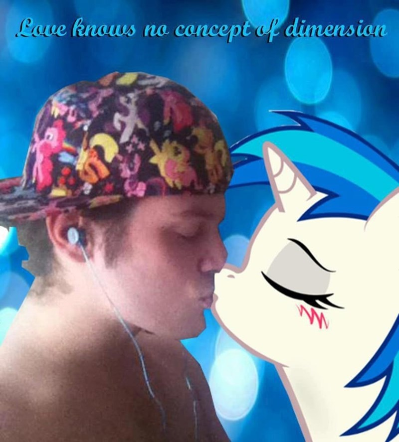 """photoshopped pic of guy kissing cartoon MLP character under the caption """"love knows no concept of dimension"""""""