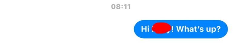 "Facebook message that reads, ""Hi [blank]! What's up?"""