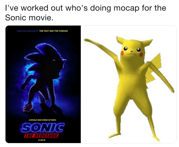 comparison between live action Sonic and bad render of Pikachu