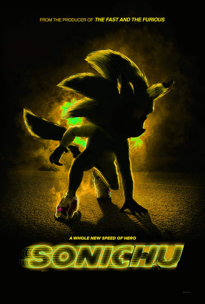 live action movie poster merging Sonic and Pikachu together