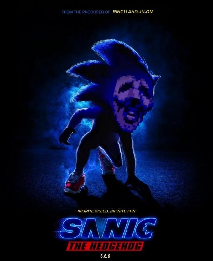 live action movie poster of Sanic Hegehog