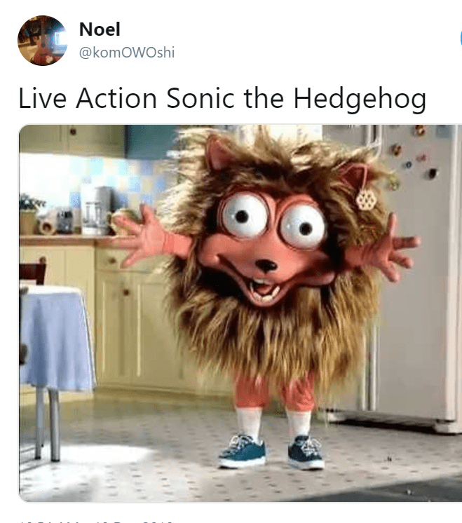 Honeycomb cereal mascot as the live action Sonic