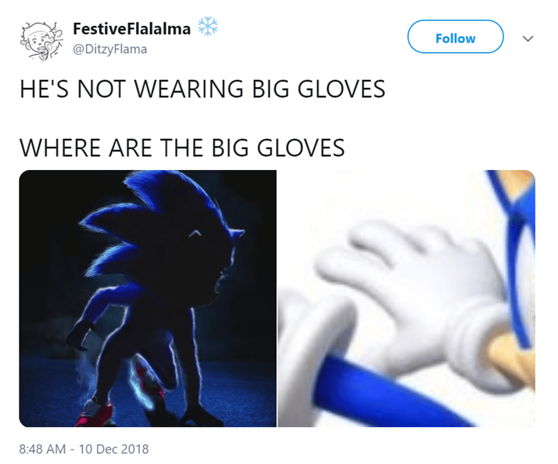 tweet pointing out Sonic isn't wearing his gloves in the new live action movie poster