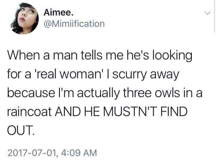 "Tweet that reads, ""When a man tells me he's looking for a 'real woman' I scurry away because I'm actually three owls in a raincoat and he mustn't find out"""