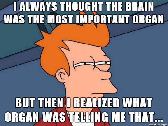silly meme of suspicious Fry meme about the brain claiming to be the most important organ