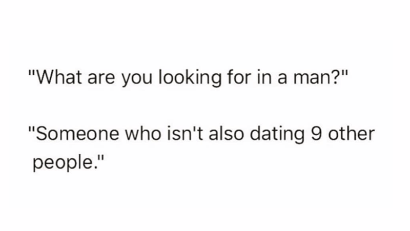 silly meme about looking for a guy who won't cheat on you