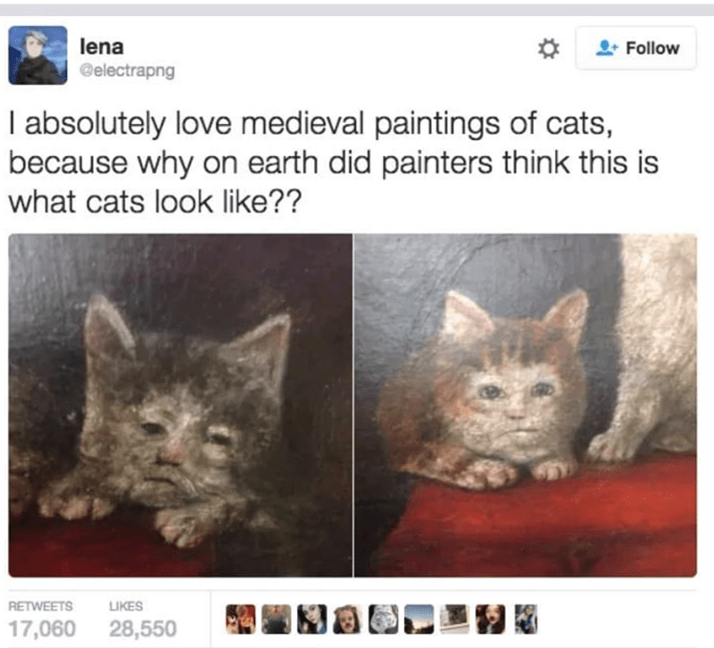 caturday meme with tweet showing medieval art of odd looking cats