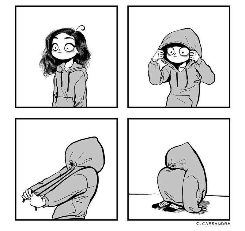 comic of girl hiding inside her hoodie
