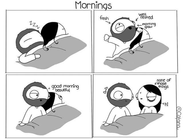 comic about how different people wake up in the morning