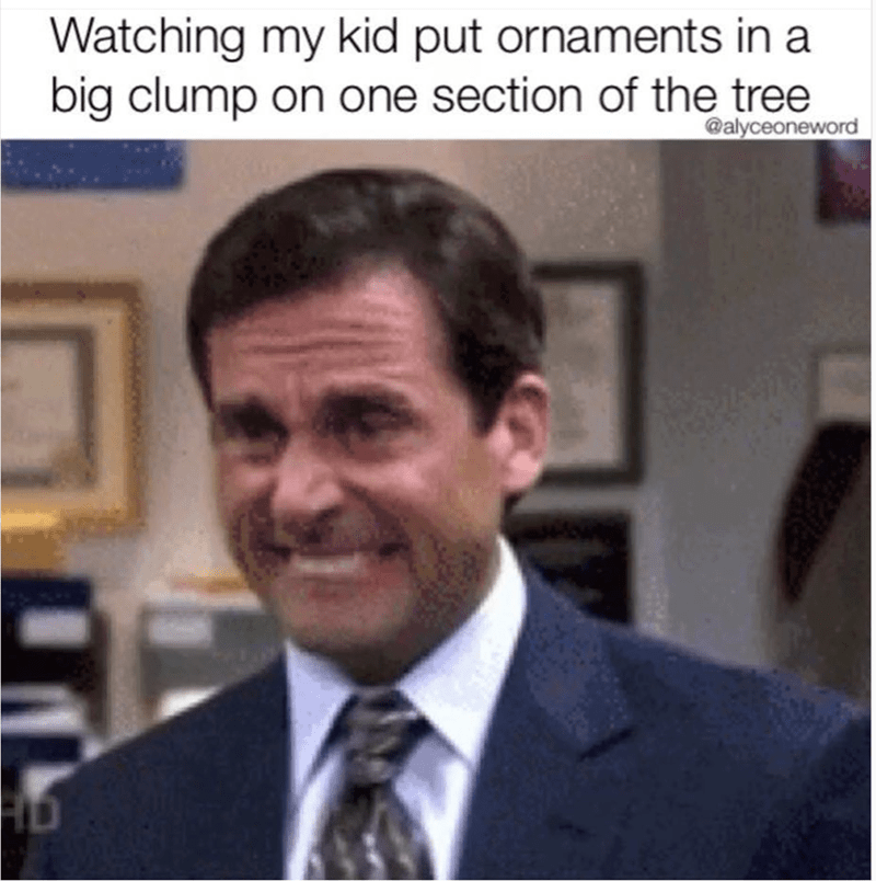 meme about holding back from ruining your child's Christmas experience with Michael from The Office biting his lip