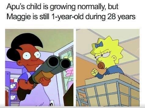 pic pointing out Maggie from the Simpsons remains a baby while other characters appears to grow older