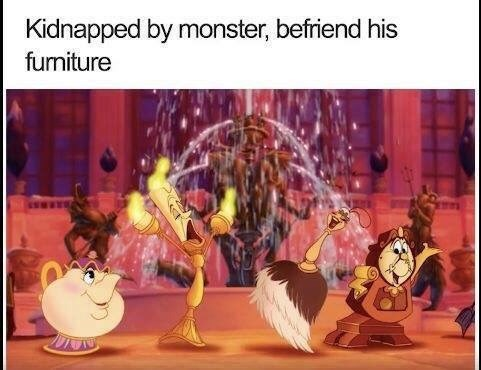 meme about the plot of Beauty and the Beast