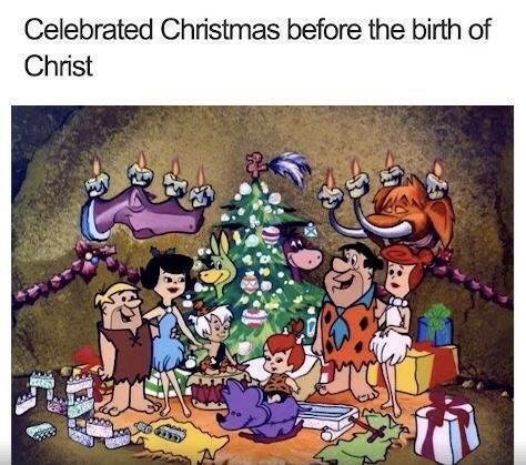 meme pointing out The Flintstones celebrated Christmas during a prehistoric period
