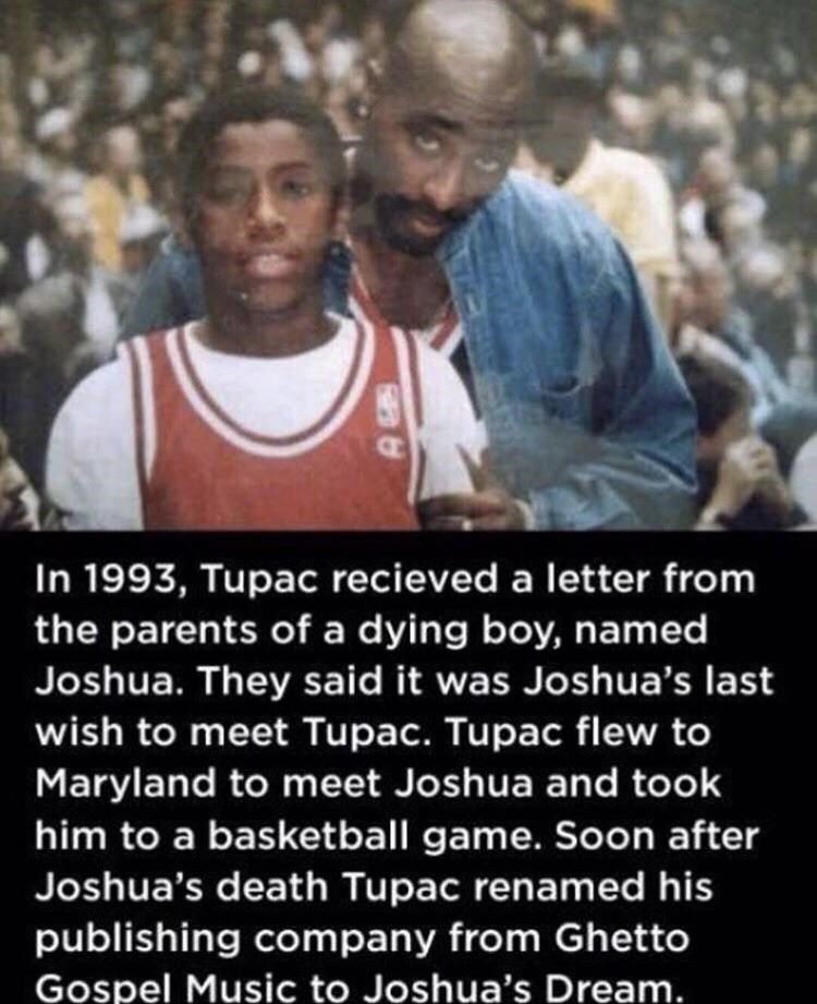 wholesome meme about Tupac's act of kindness toward a dying boy